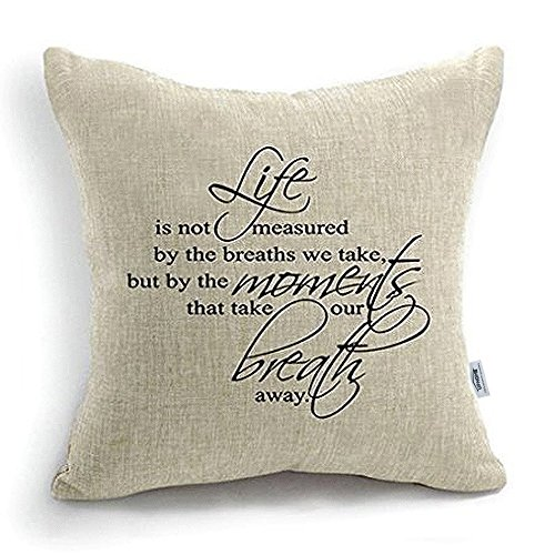 Uphome 18 Inch Quote Words Square Decorative Cotton Linen Cushion Cover Throw Pillowcase
