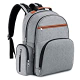 Abonnyc Diaper Bag Backpack Waterproof Diaper Backpack Nappy Tote Bags Large Capacity Fit Stroller,Unisex and Stylish,Gray