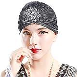 ArtiDeco Sombrero turbante para mujer con cristales, estilo retro de los años 20 plata Talla única
