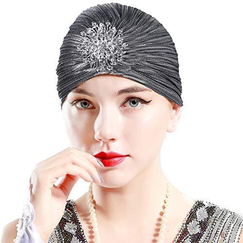 ArtiDeco - Sombrero turbante para mujer con cristales de 1920s, accesorio retro para la cabeza plata Talla única