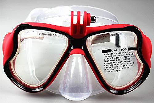 WOWDECOR Tauchmaske für Gopro Kamera Erwachsene Kinder mit Kurzsichtigkeit Kurzsichtig, Schnorchelmaske Taucherbrille Dioptrin Dioptrien Korrektur (rot, -3,0)