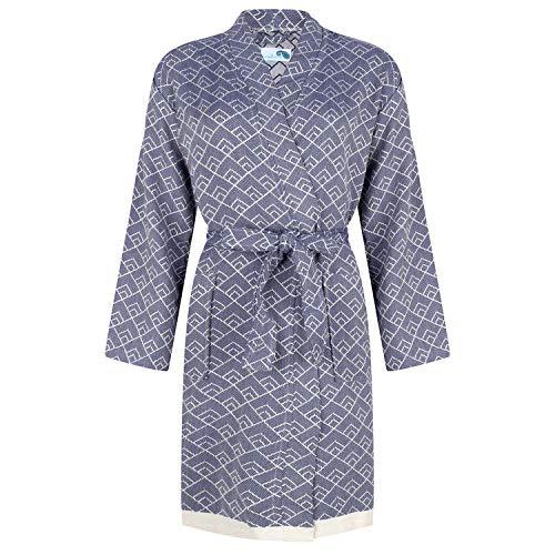 ZusenZomer Hamam Bademantel Damen - Morgenmantel Kimono Saunamantel GEO | Elegant, kurz, dünn und leicht | Hochwertige Qualität Bio-Baumwolle - (Dunkelblau)