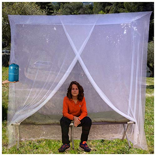 EVEN NATURALS Luxury Mosquito Net for Bed Canopy, Tent for Single to Twin XL, Camping Screen House, Finest Holes Mesh 380, Square Netting Curtain for...