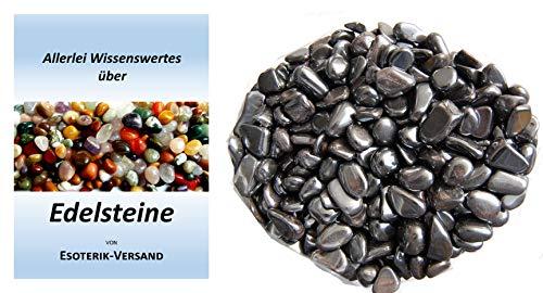 Esoterik-Versand Edelsteine, polierte Trommelsteine, Hämatit klein (ca. 1 cm), 500 g-Beutel, incl. 36seitige Broschüre