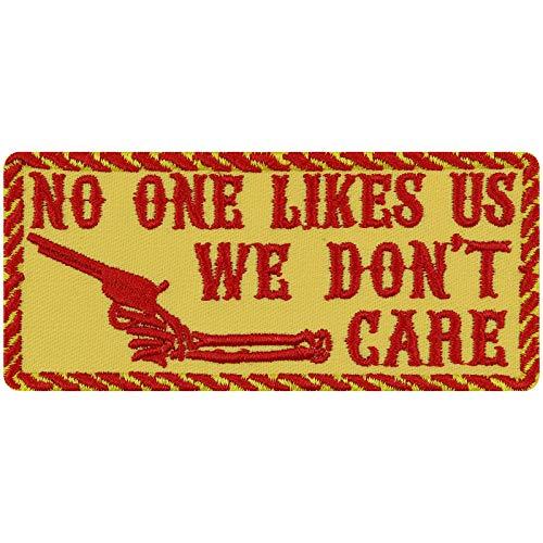 WE Don't Care Aufnäher Biker Aufbügler Rocker Patch Flicken lustige Bügelbilder Sticker Heavy Metal Geschenk Motorrad-Fahrer DIY Applikation für Leder-Jacke/Kutten/Tasche/Jeans-Weste gelb 100x45mm