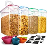 Juego de recipientes de almacenamiento de cereales, 100% herméticos, ideales para harina, azúcar, arroz y más, dispensador sin BPA (4 unidades)