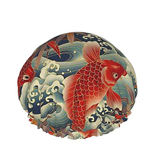 Bonito gorro de ducha impermeable con forma de pez dorado y animal con dobladillo elástico, diseño reversible para la ducha, gorro de d