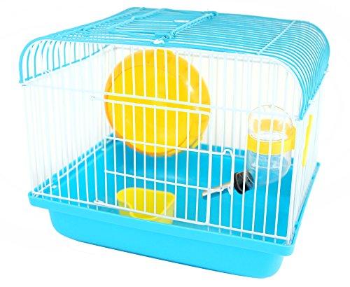 BPS® Käfig Hamster Chalet für Hamster mit Reifen, Futterstelle und Vogeltränke 22.5* 17* 19cm bps-1257, blau