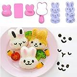 Lembeauty Juego de moldes para bolas de arroz pequeñas, diseño de dibujos animados para sushi, Bento Nori, molde de arroz en forma de conejo.