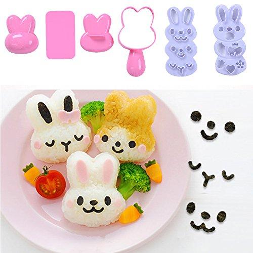 Set Reisball-Formen, klein, Cartoon-Muster, DIY-Sushi-Bento, Nori-Reis-Form Rabbit-shaped