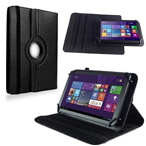 NAUC Tasche Hülle f TrekStor SurfTab Twin 10.1 Tablet Schutzhülle Hülle Schutz Cover, Farben:Schwarz