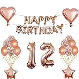 Oumezon Decoración de cumpleaños para niña, color oro rosa, 12 años, guirnalda de cumpleaños para niñas y jóvenes, globos con confeti