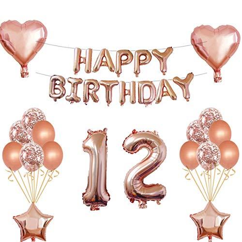 Oumezon 12 Geburtstag Mädchen Dekoration Rose Gold, 12. Geburtstag deko für Mädchen Jungen Happy Birthday Girlande Banner Folienballon Konfetti Luftballons Deko Geburtstag Party Anzahl Ballons