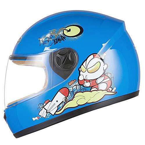 Casco de bicicleta para motocicletas para niños, Moto de dibujos animados Casco cara completo BIB extraíble Protección cálida Bicicleta eléctrica Scooter Patinaje Casco ciclomotor para niños 3-6,D