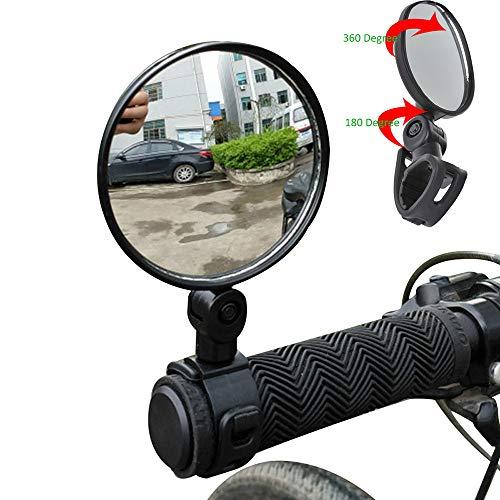 Bike Mirror Bar End Mountain Bicycle Mirror Adjustable Rotatable Handlebar Glass Mirror 2 Packs Bundle Universal Mini Rotaty Rearview Handlebar Cycling Bicycle