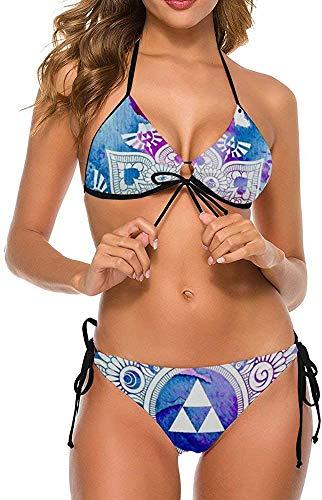 Frauen Mädchen Zweiteilige verstellbare Halfter Bikini Set Badebekleidung Badeanzüge-Legende eines Zelda Mandala, L.