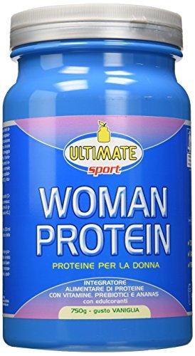 Woman Protein – Proteine Specifiche Per Le Donne - Proteine Isolate Di Soia E Albume, Con Estratto Di Ananas, Vitamine, Prebiotici – Favoriscono Il Dimagrimento – G. Vaniglia – 750 g – Ultimate Italia