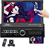 Hikity Single Din Car Stereo 7' Folding Capacitive Touch Screen Radio FM Bluetooth Receive with USB/AUX-in/SD Card Port Supports Mirror Link for Android/iOS Phone + Backup Camera & Remote Controller