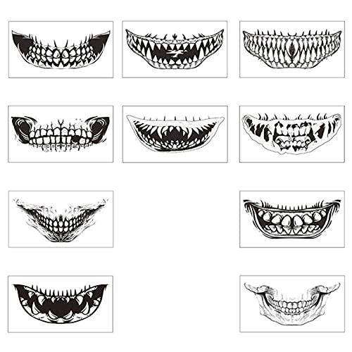 REXLIS 10 STÜCKE Halloween Temporäres Tattoo Beängstigend Zähne Tattoo Halloween Mund Tattoo Aufkleber Halloween Temporäre Lächelnde Lippen Tattoo Aufkleber Für Halloweenkostüm Gruselparty