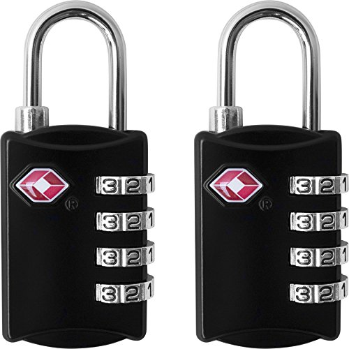 TSA Luggage Locks (2 Pack) - 4 Digit Combination Steel Padlocks - Approved Travel Lock for Suitcases & Baggage - Black - by desired tools