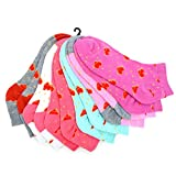 6 Pack of Womens Heart Novelty Socks in Hot Pink, Light Pink, Mint, Coral, White and Grey w/Red Hearts