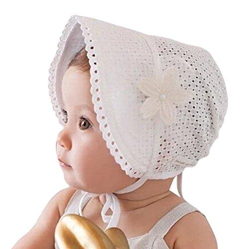 Little Baby Children Vintage Sun Hat Summer Cotton Bonnet with Flower Applique White