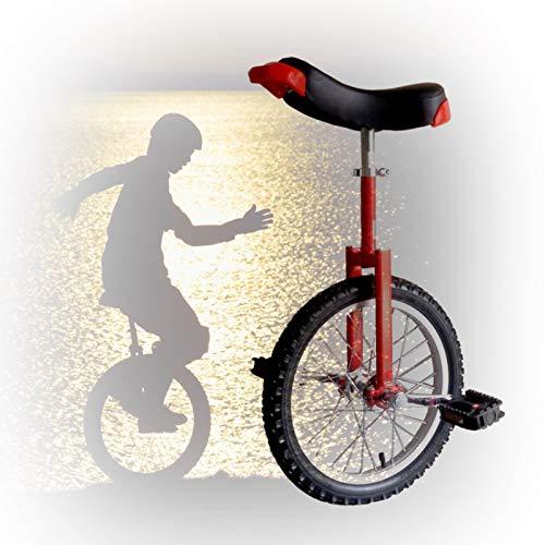 GAOYUY 16/18/20/24 Zoll Freestyle Einrad, Abgerundete Kunststoffpedale Konturierter Ergonomischer Sattel Leicht Zu Tragen for Anfänger Kinder Erwachsene (Color : Red, Size : 16 inch)