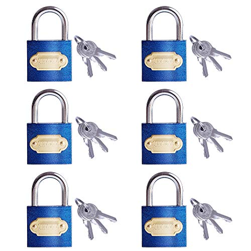 Keyed Alike Padlocks 6 Pack 30mm Miini Small Locks with 3 Keys for Securing Your Great for Gym Locker, Suitcase, Backpacks, Jewelry Boxes, Luggage and More