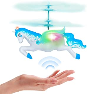 Flying Helicopter Fairy Unicorn Toys Gifts for 6 7 8 9 Year Old Girls Boys Birthday Christmas Party Supplies - Mini Rc Hand Control Flying Unicorn Doll Blue for Kids