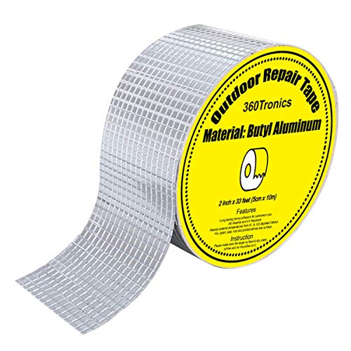 """Waterproof Butyl Tape 2"""" X 33', All Weather Upgraded Leak Repair Tape, UV-Resistant Leak Proof Butyl Seal Strip Patch for Pipe RV Awning Sail Boat HVAC Ducts Roof Patching Window Sealing"""