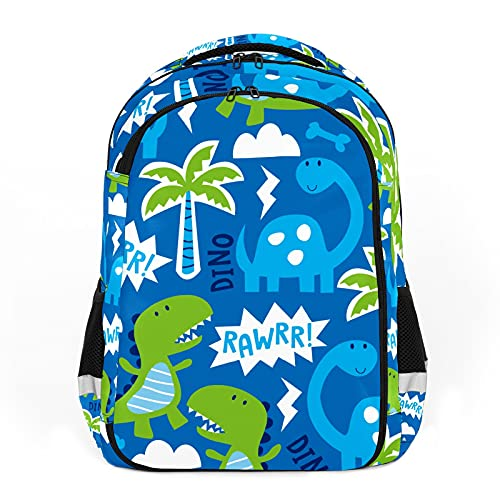 Mochila para niños unisex de dibujos animados para estudiantes escolares, impermeable, paquete preppy de dibujos animados azul árbol de dinosaurios - animales lindos