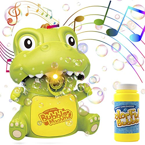 Toysery Dinosaur Toy Bubble Machine for Kids, Stable Base Setting Toddler Boy Toys with LED Lights and Music, Bubble Mower Kid Toys, Outdoor Bubble Maker Baby Toy with Bubble Solution Refill