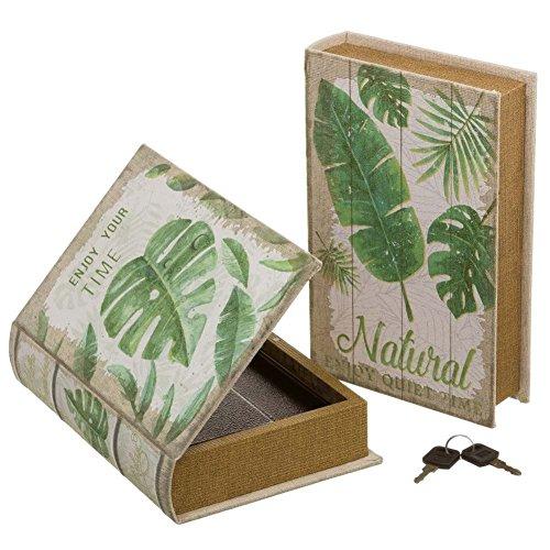 Bakaji Cassaforte Cassetta Di Sicurezza Finto Libro Botanica Con 2 Chiavi 16x24x5cm Security Book Protezione Proteggere Cassa