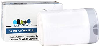 Plasticplace Trash Bags│Simplehuman Code J Compatible (50 Count)│Liter White Drawstring Garbage Liners 10-10.5 Gallon...