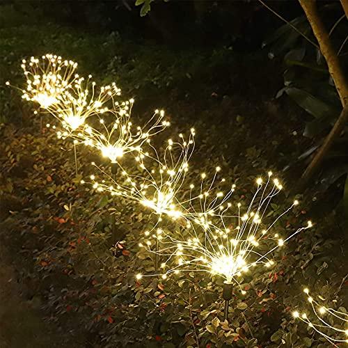 Luci Solari Giardino Decorative, 105 LED Esterno Lampada Solari Fuochi d'Artificio Luci, DIY Decorazioni Paesaggio Luci Impermeabile per Patio, Prato e Giardino(Bianco Caldo, 4 pezzi)…