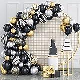 Kit de guirnalda de globos, GRESATEK Negro Oro Kit de arco de globos de látex globo de confeti para la graduación de la fiesta de cumpleaños de la boda del bebé de la ducha