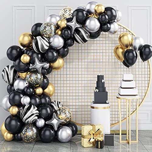 Kit de guirnalda de globos, GRESATEK Negro Oro Kit de arco de...