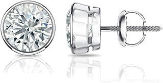 1/3 Carat Lab Grown Diamond Stud Earrings in 14k White Gold (cttw, G-H, VS1-VS2) Bezel-set, Screw-backs by Diamond Wish