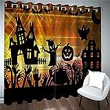 FACWAWF Cortinas Impresas con Impresión 3D, Patrón De Calabaza De Bruja Extraña De Halloween, Sala De Estar, Dormitorio, Balcón, Cortinas Opacas para Habitación De Niños 2xW75xH166cm