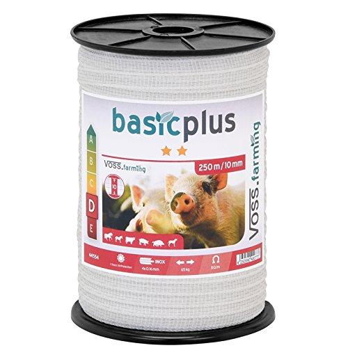 VOSS.farming 250 m Ruban de clôture électrique 10 mm conducteur 4 x 0,16 mm Acier Inoxydable Cheval