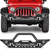FINDAUTO Front Bumper Fit for 2007-2018 for Jeep Wrangler JK Upgraded Textured Black Rock Crawler Bumper with D-ring and Winch Plate,with LED Lights