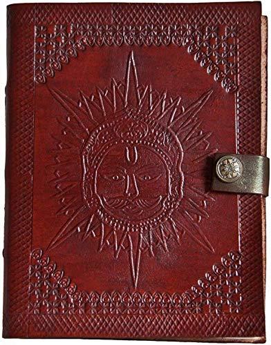 Indiary lederen yoga-dagboek, notitieboek van leer, handgeschept papier, 17,5 cm x 13,5 cm, reliëfreliëfdruk, edel motief zon