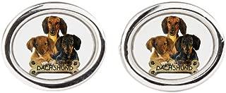 Royal Lion Cufflinks (Oval) Dachshund Trio with Bone Name Plate
