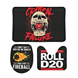 LAFROABC DND D20 Skull Popular Handicrafts Door Mat Sets Indoor Outdoor Toilet Lid Tank Cover Combo Great Absorbency Machine Washable for Patio D20 Critical Fail Dice Roll Bloody RPG White 20x31 inch