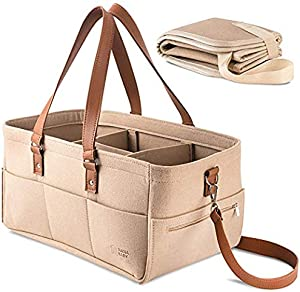 SALAMOPH Baby Diaper Caddy Organizer Changing Pad  Unisex Portable Storage Bin for Travel Home  Eco-Friendly Felt Basket Bag with Customizable Compartments  Leather Handles
