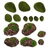 Yardwe 14 Piezas de Bolas de Musgo Artificiales Verdes Piedras Decorativas de Musgo para Jarrones de Acuarios Decoración de Mesa Plantador Decoración de Terrario