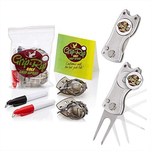 Grip & Rip Golf Ball Marker Line Drawing Tool | Golf Ball Alignment Aid- Putting, Fairway & Tee Shots | Golf Divot Repair Tool and Ball Marker | Switchblade Divot Tool | Magnetic Ball Marker (SILVER)