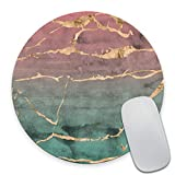 Smooffly Rose Gold Marble Design Round Mouse pad, Watercolor Gradient Texture Non-Slip Rubber Mouse Pads Cute Mat Size 7.9 x 7.9 x 0.12 Inch