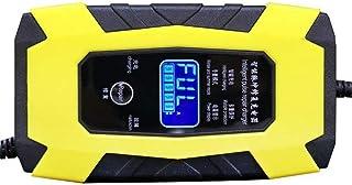 Fordonsbatteriladdare 12V/6A bilbatteriladdare med LCD-skärm Bärbar batteriladdare Underhåll Pulsereparationsladdare (gul)