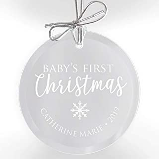 Lifetime Creations Personalized Baby's First Christmas Ornament: Engraved Glass New Baby Ornament, First Christmas Baby Gift, Newborn Ornament Keepsake